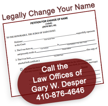 Carroll County MD Lawyer Name Changes Maryland